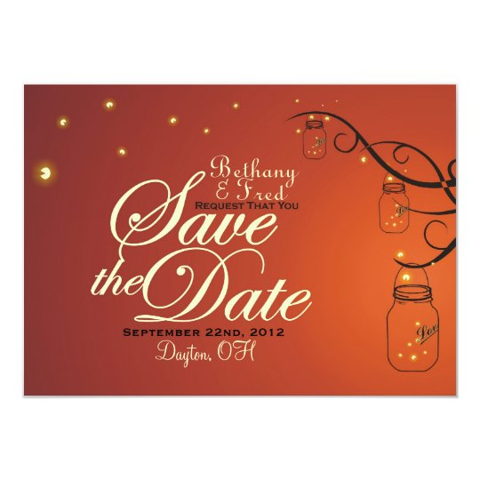 Mason Jar & Firefly Save the Date Postcard