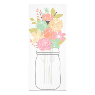 Mason Jar Floral Bouquet 1 Blank Invitation Card