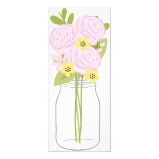 Mason Jar Floral Bouquet 2 Blank Invitation Card