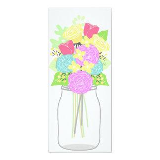 Mason Jar Floral Bouquet Blank Invitation Card