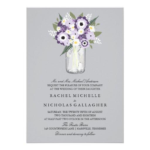 Mason Jar Floral | Wedding Announcement