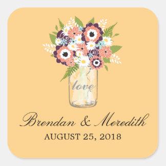 Mason Jar Floral Wedding Stickers