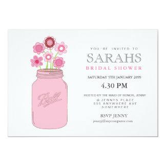 "Mason Jar Flowers Bridal Shower Party Invite 5"" X 7"" Invitation Card"