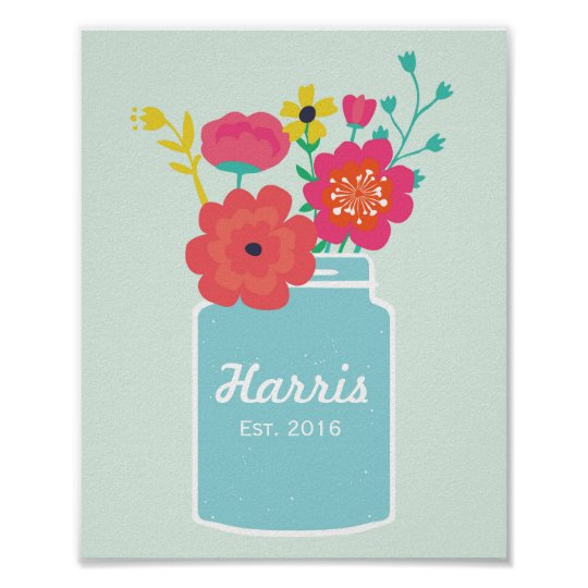 Mason Jar Flowers Family Established Poster