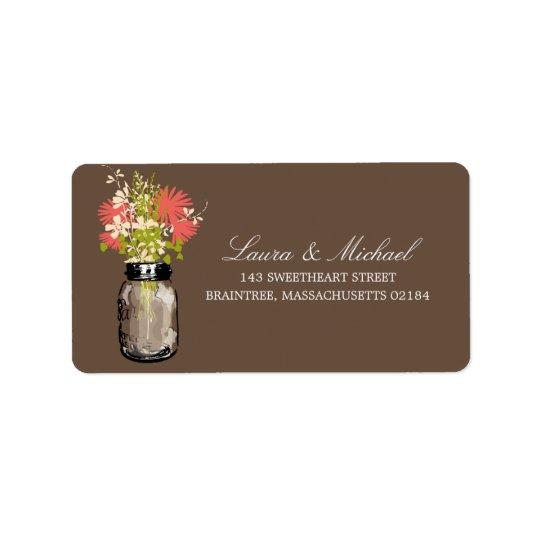 Mason Jar Flowers | Mailing Address Label