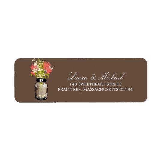 Mason Jar Flowers | Return Address Return Address Label
