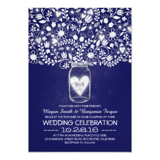Mason jar flowers royal blue wedding invites
