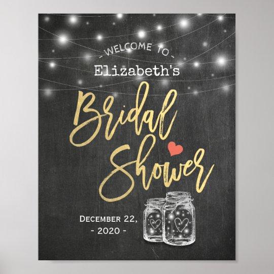 Mason Jar Lights Chalkboard Bridal Shower Welcome Poster