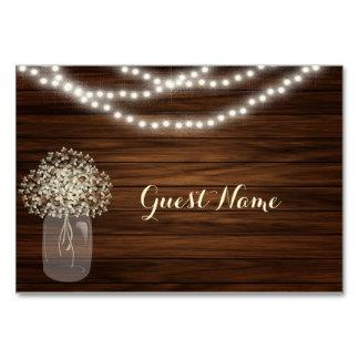Mason jar & lights Place cards