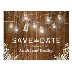 Mason Jar Lights Rustic Babys Breath Save the Date