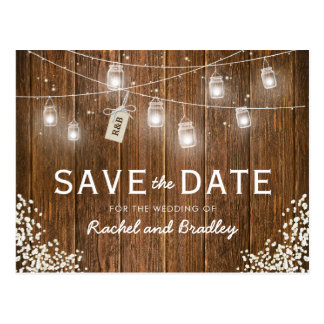 Mason Jar Lights Rustic Babys Breath Save the Date Postcard