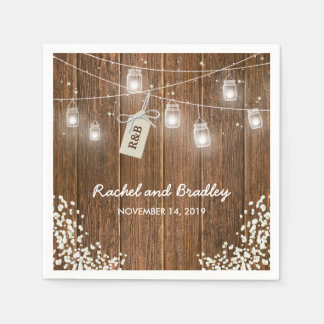 Mason Jar Lights Rustic Babys Breath Wedding Paper Napkin