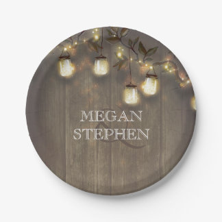 Mason Jar Lights Rustic Barn Wedding Paper Plate