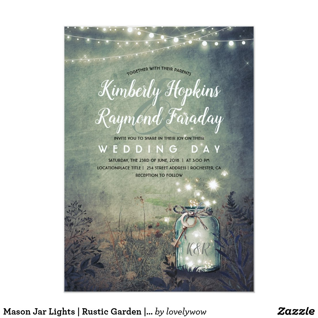 Mason Jar Lights | Rustic Garden | Evening Wedding Card