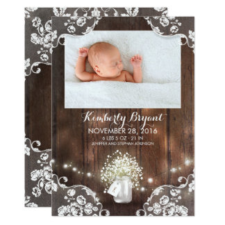 Mason Jar Lights Rustic Newborn Baby Photo Birth Card