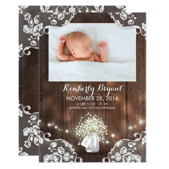 Mason Jar Lights Rustic Newborn Baby Photo Birth