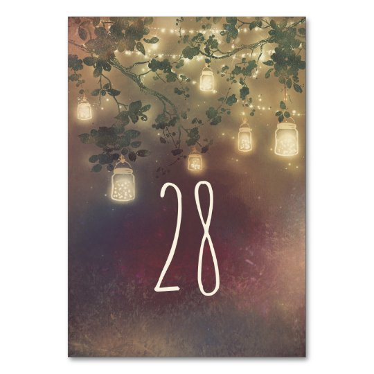 Mason Jar Lights Rustic Tree Wedding Table Number