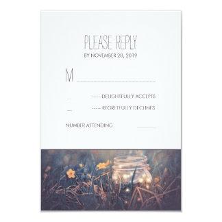 Mason Jar Lights Rustic Wedding RSVP Cards 9 Cm X 13 Cm Invitation Card