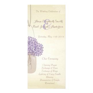 Mason jar lilac hydrangea Wedding Program 10 Cm X 23 Cm Rack Card
