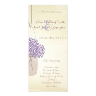 Mason jar lilac hydrangea Wedding Program Rack Card