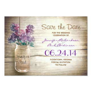 mason jar & lilacs save the date card