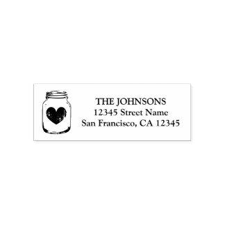 Mason jar logo self inking return address stamps