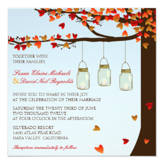 Mason Jar Oak Tree Wedding Invite [Day]