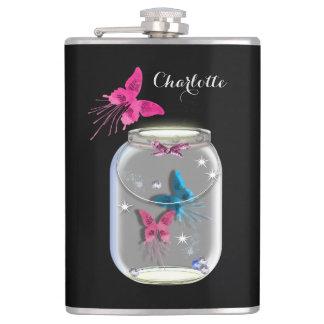 Mason Jar Of Butterflies Personalized Hip Flask