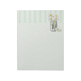 Mason Jar Of Daisies Notepad