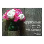Mason Jar of Pink and White Roses Barn Wedding Custom Announcements