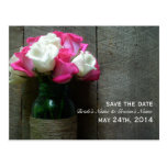 Mason Jar Of Roses & Barnwood Save The Date