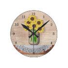 Mason Jar Of Sunflowers Wall Clock