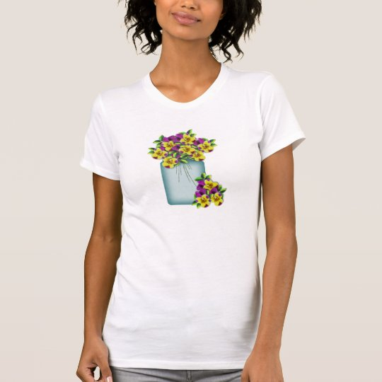 Mason Jar Pansies Shirt