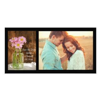 Mason Jar Pink Daisies Barn Wedding Save the Date Card