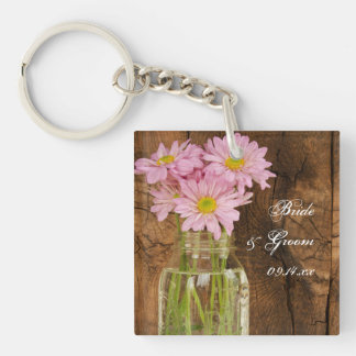 Mason Jar Pink Daisies Country Barn Wedding Double-Sided Square Acrylic Key Ring