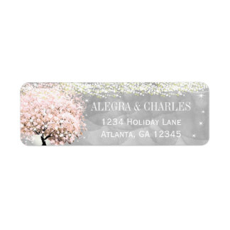 Mason Jar Pink Heart Leaf Tree on Gray Watercolor Return Address Label