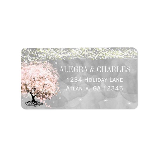 Mason Jar Pink Heart Leaf Tree on Grey Watercolor Address Label