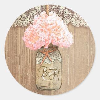 Mason Jar Pink Hydrangea Floral Rustic Wedding Round Sticker