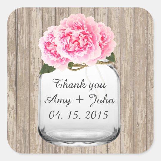 Mason jar pink peony wedding sticker tags peony2