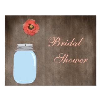 Mason Jar & Poppy Rustic Bridal Shower Card