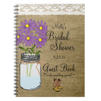 Mason Jar Purple Flowers Bridal Shower Guest Book- Spiral Notebook