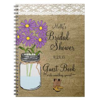 Mason Jar Purple Flowers Bridal Shower Guest Book- Spiral Notebook