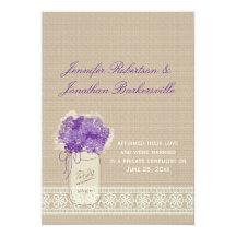 Mason Jar Purple Flowers Lace Post Wedding 13 Cm X 18 Cm Invitation Card