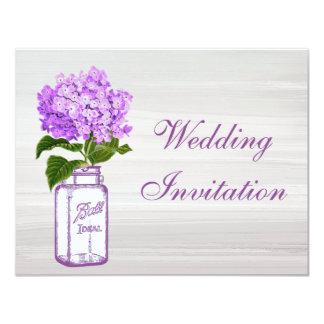 Mason Jar & Purple Hydrangea Shabby Chic Wedding 11 Cm X 14 Cm Invitation Card