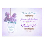 mason jar & purple lilacs save the date 13 cm x 18 cm invitation card