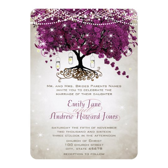 Mason Jar Radiant Purple Wedding Card