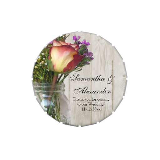 Mason Jar Rose Wildflowers Custom Wedding Favor Jelly Belly Candy Tins