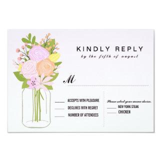 Mason Jar RSVP  Wedding 9 Cm X 13 Cm Invitation Card