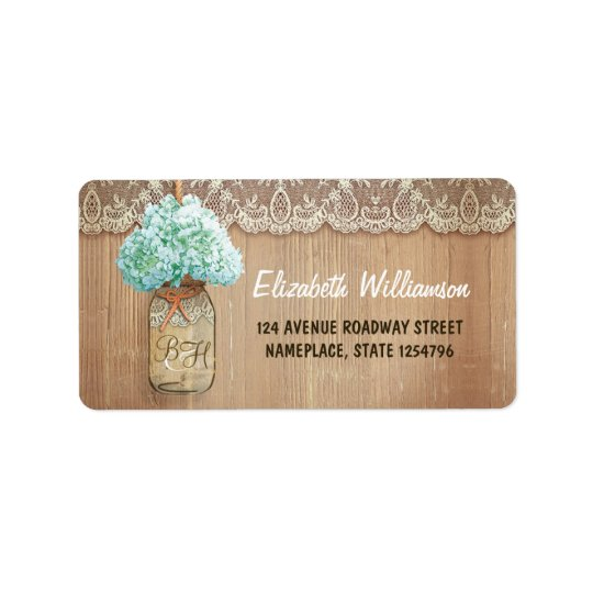 mason jar rustic address labels for weddings