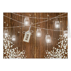 Mason Jar Rustic Babys Breath Evening Reception